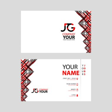 The JG logo on the red black business card with a modern design is horizontal and clean. and transparent decoration on the edges. GJ Logo Template