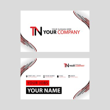 The TN logo on the red black business card with a modern design is horizontal and clean. and transparent decoration on the edges.