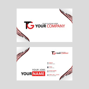 The TG logo on the red black business card with a modern design is horizontal and clean. and transparent decoration on the edges.