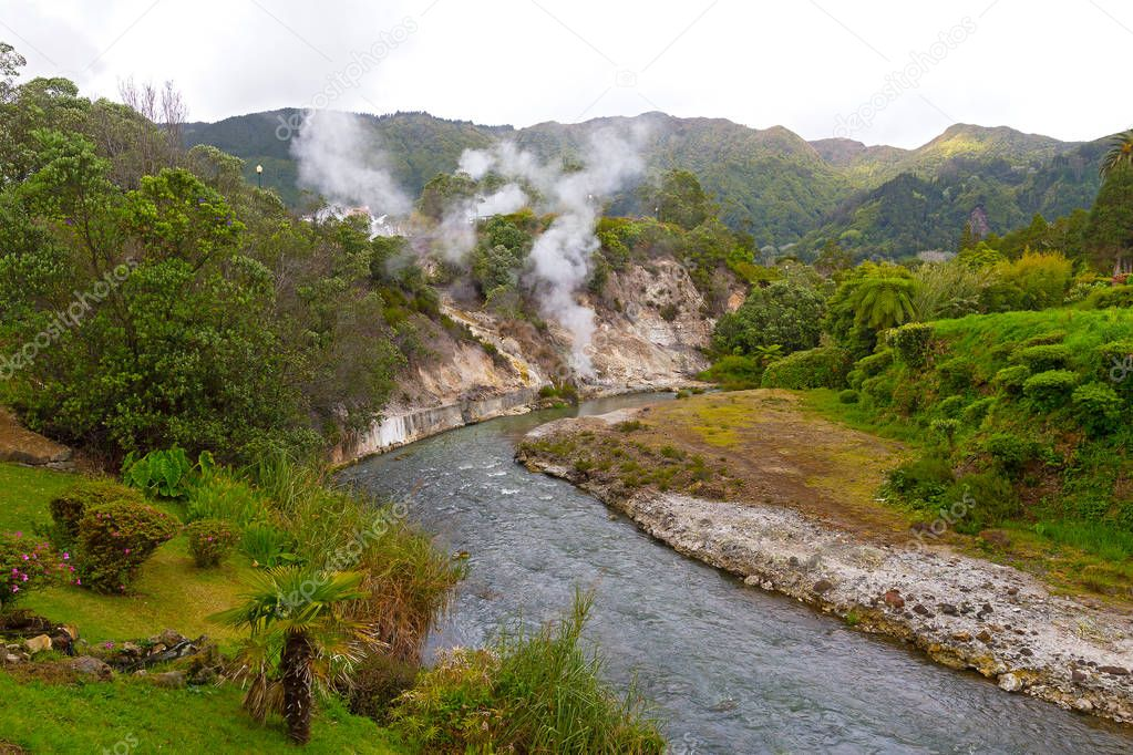 Fumaroles along a waterway created by springs in central part of Furnas village on Sao Miguel Island, Azores, Portugal. Diverse lush flora in area of the easternmost of three active trachytic volcanoes on the island.