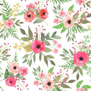 """Картина, постер, плакат, фотообои """"Watercolor floral seamless pattern with colorful hand drawn pink"""", артикул 199014230"""