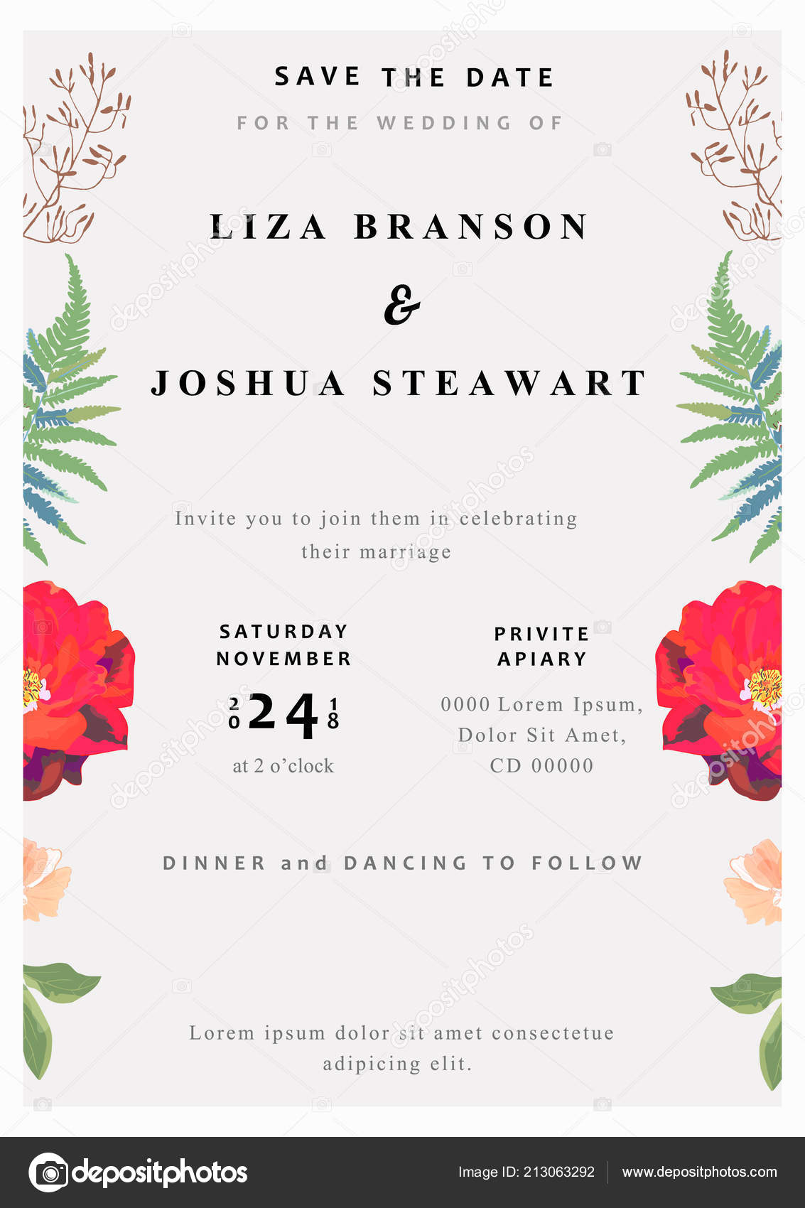 Wedding Floral Background Colorful Invitation Cards Menu For