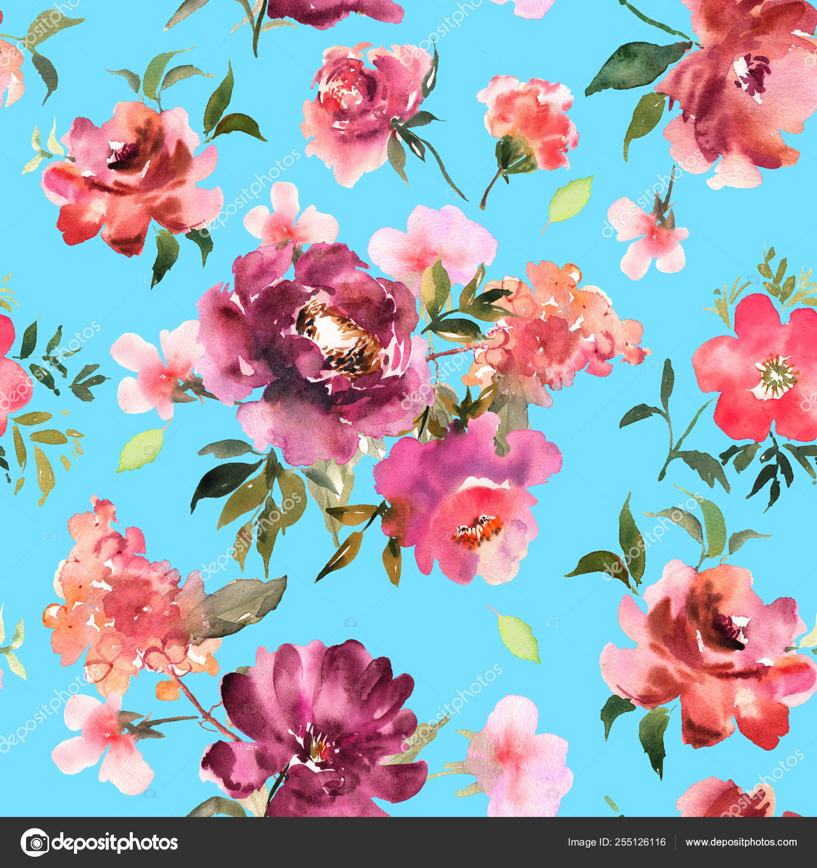 Watercolor Floral Seamless Pattern For Wallpaper Prints Design