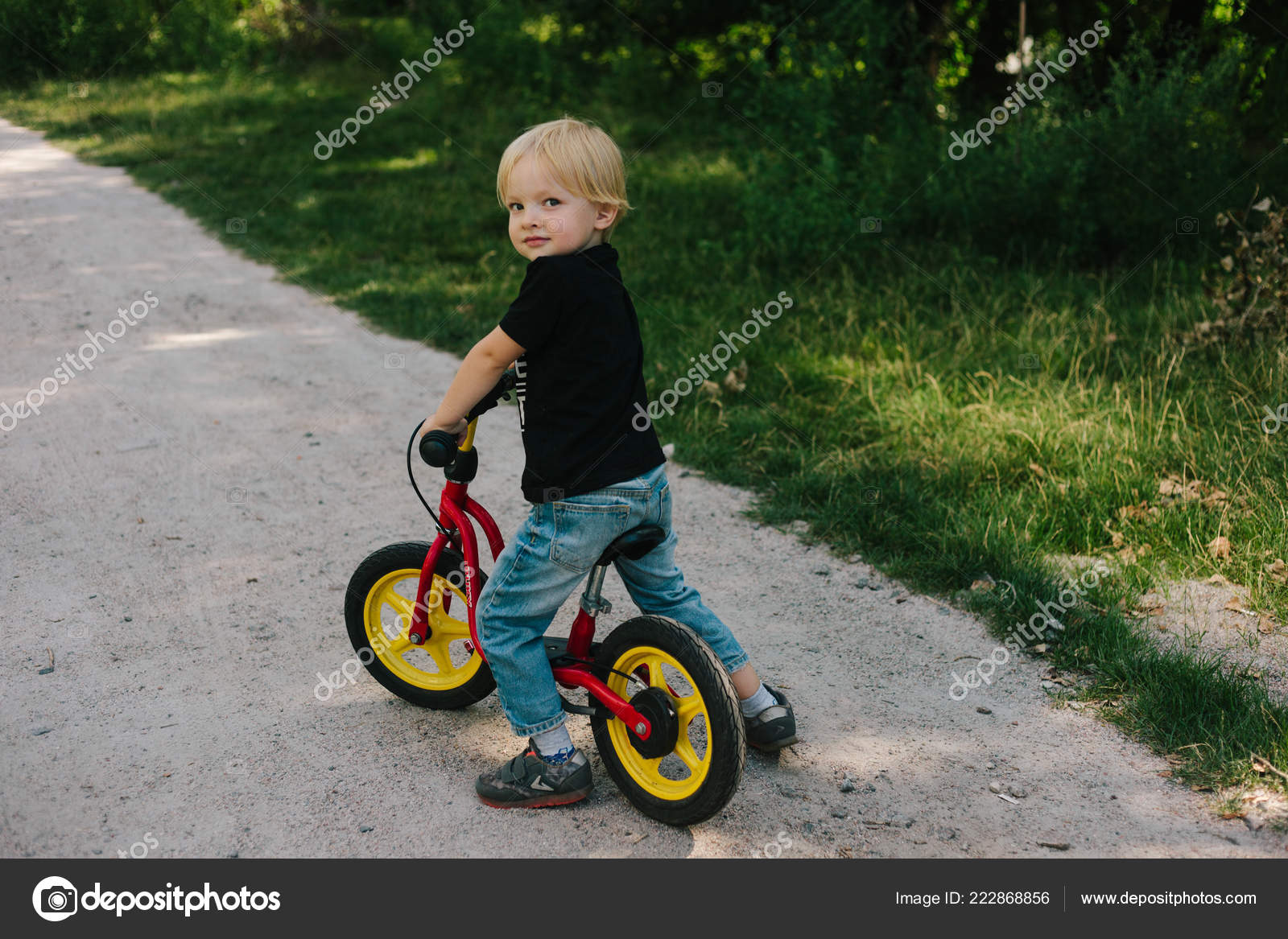 Years Old Happy Toddler Boy Riding Red Bike Little Kid Stock Photo