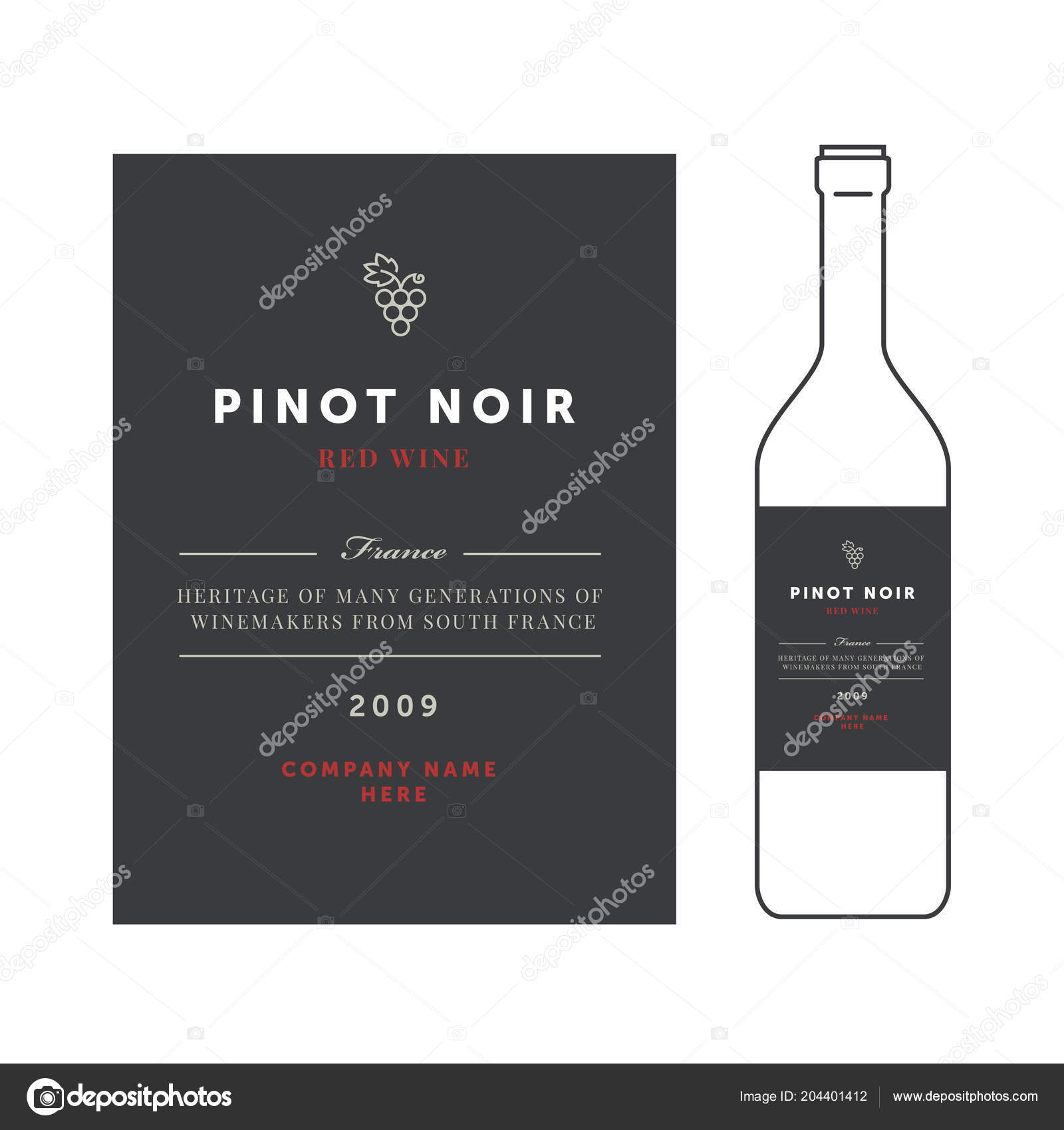 Red Wine Labels Premium Template Set Clean And Modern Design
