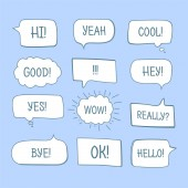Photo Hand drawn comic speech bubbles with message words collection.
