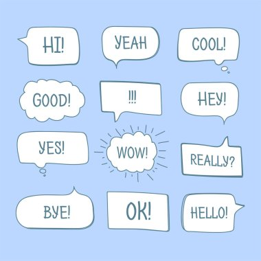 Hand drawn comic speech bubbles with message words collection stock vector
