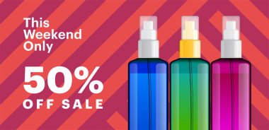 Trendy cosmetic products banner with essence bottles. Modern geometric background with stripes. Big sale poster template.