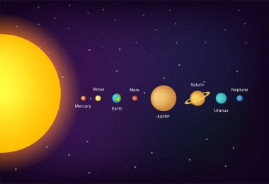 infographic Solar system planets on universe background illustration. Gradient colors.