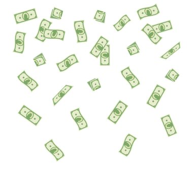 illustration cartoon paper money falling on a white background. Flying banknotes money