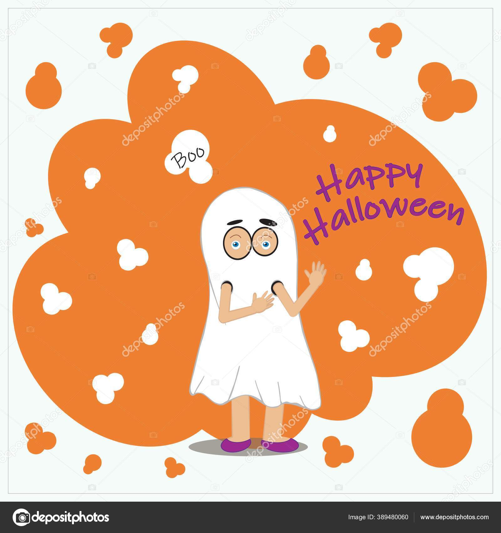 White Halloween Kids Card Orange Elements Child Ghost Costume Hiding Stok Foto C Varlakova 389480060