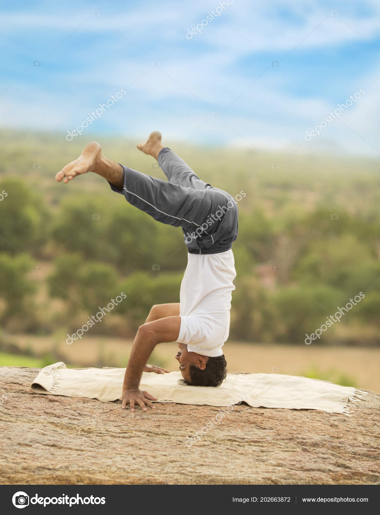 Young Indian Man Top Mountain Sitting Yoga Pose Stock Photo C Kailashkumar 202663872