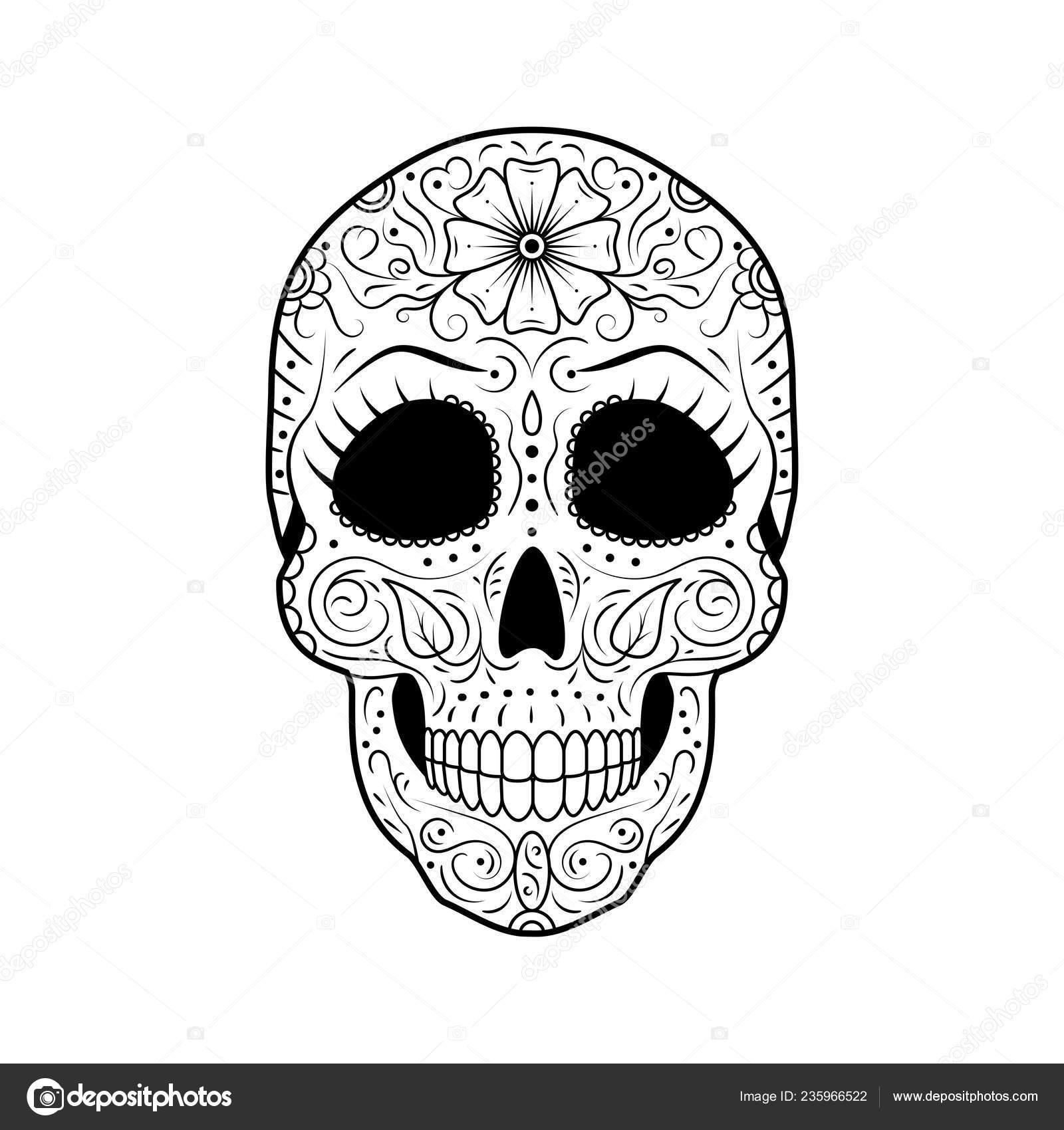 Día Blanco Negro Calavera Azúcar Muerto Con Ornamento Floral