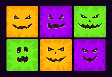 Cartoon monster faces set. Vector Halloween funny and scary faces with different expressions. Children book illustrations or party decorations. Square avatars collection. icon