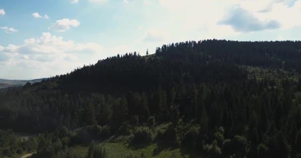Aerial, Carpathians mountains. Blue Ukrainian sky with rain clouds