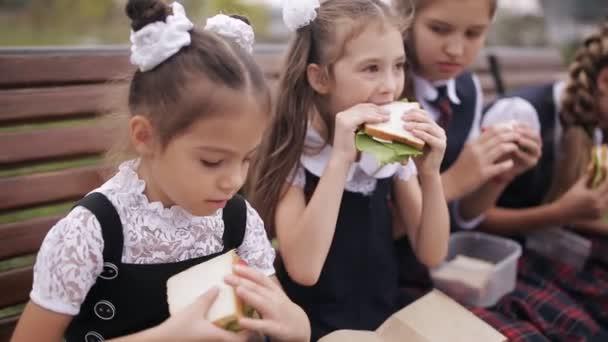Girls College student nosit stejné školní uniforma jíst sendviče a usmíval se při odpočinku v parku