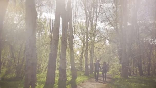 Fiatal pár, séta a parkban a naplemente