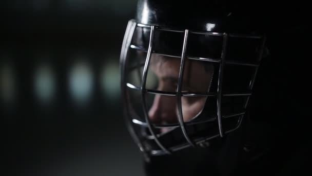 Detail tváře hokejový brankář. Hokejový brankář je na brány čeká na soupeře
