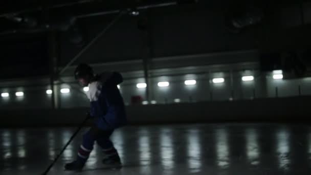 Mladý hokejista cvičí na ledové pole