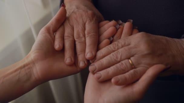 Großaufnahme der Hände einer älteren Frau, die die Handfläche einer erwachsenen Frau hält.