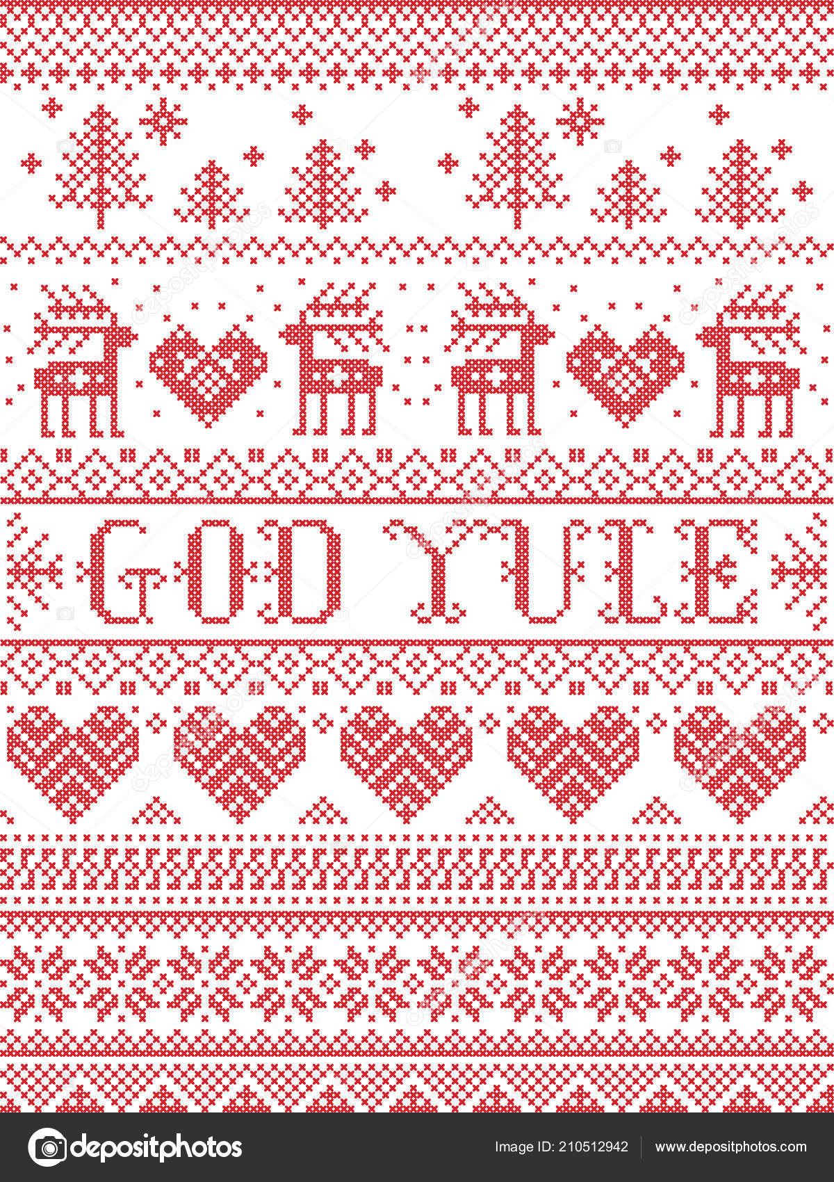 Merry Christmas In Norwegian.Christmas Pattern Merry Christmas Norwegian God Yule Vector