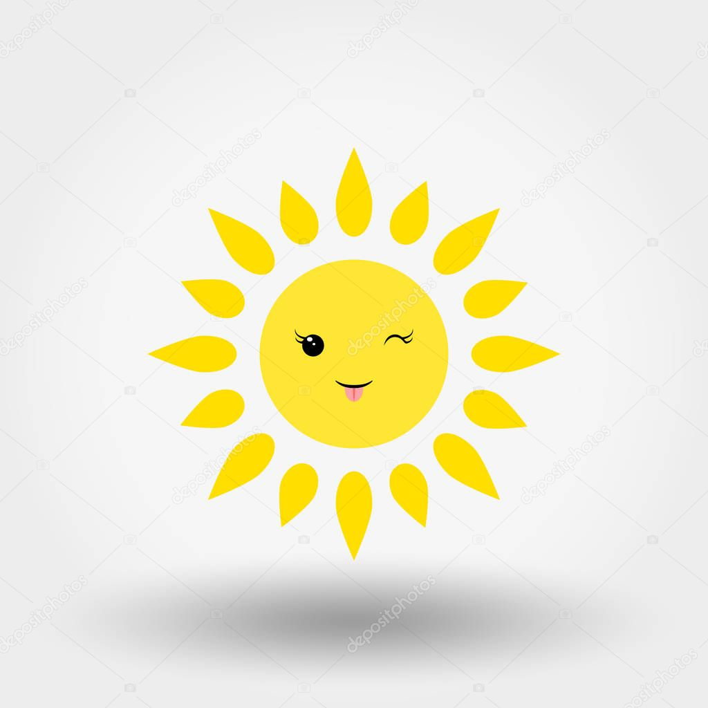 Kawaii sun. Winking. Icon for web and mobile application. Can be used for design greeting card, invitation, banner or logos. Vector illustration on a white background. Flat design style.