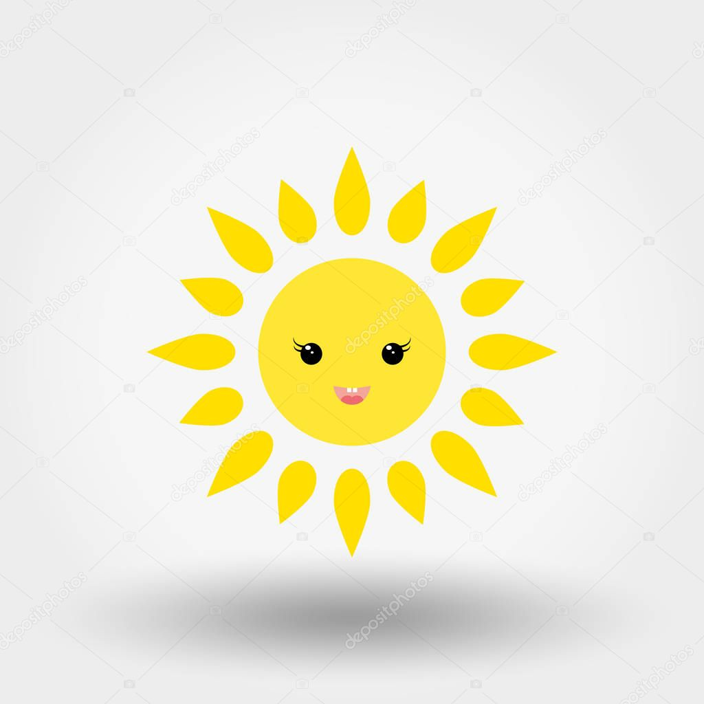 Kawaii sun. Icon for web and mobile application. Can be used for design greeting card, invitation, banner or logos. Vector illustration on a white background. Flat design style.