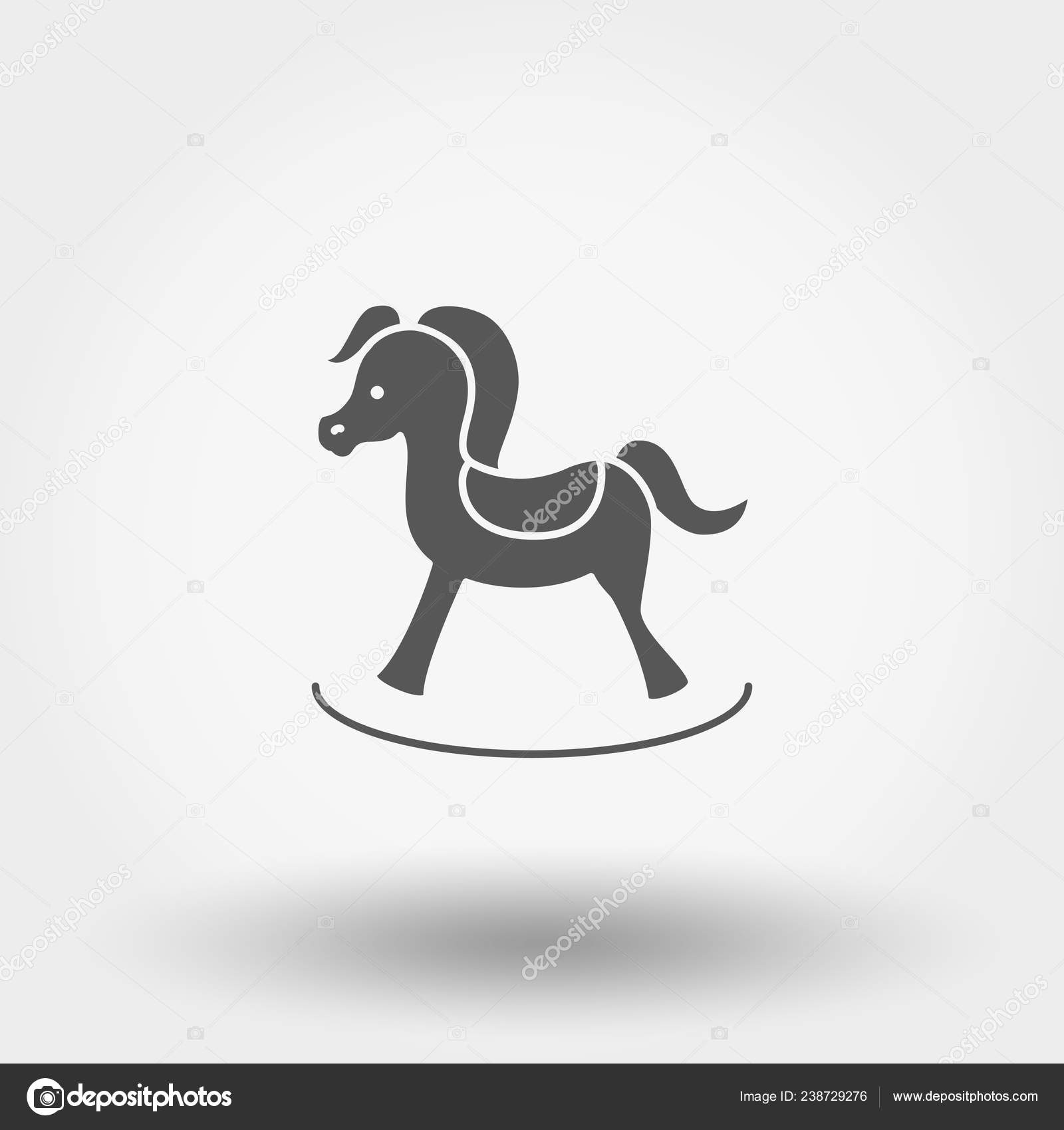Rocking Horse Toy Silhouette Icon Web Mobile Application Vector Illustration Stock Vector C Elen88 238729276