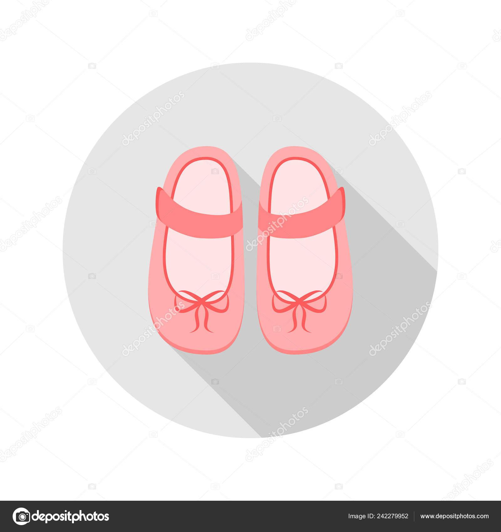 Baby Shoes Icon Web Mobile Application Vector Illustration Button Long Stock Vector C Elen88 242279952