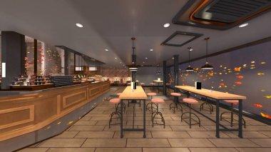 3D CG rendering of restaurant