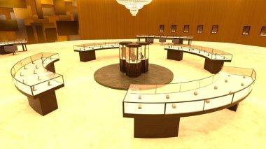 3D CG rendering of jewelry store