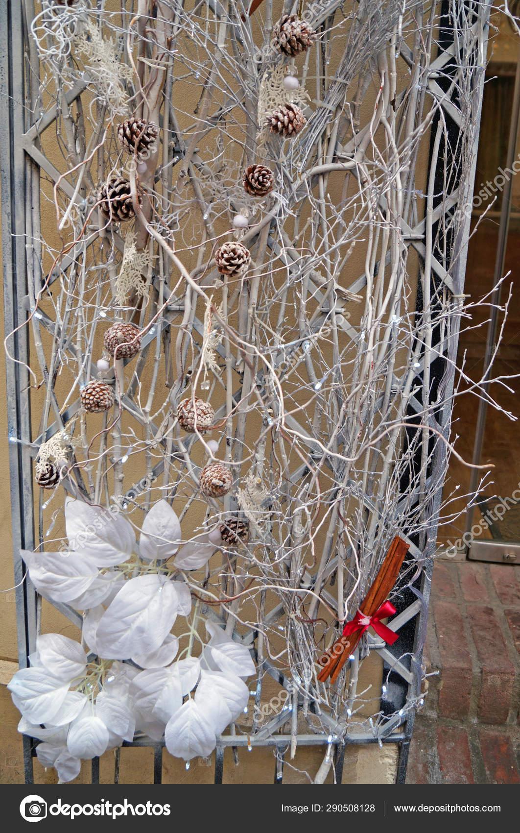 Festive Christmas Decor Consisting White Branches Cinnamon Sticks Pine Cones Stock Photo C Mk Vera 290508128