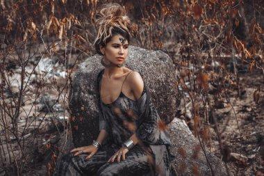 beautiful young boho style woman portrait