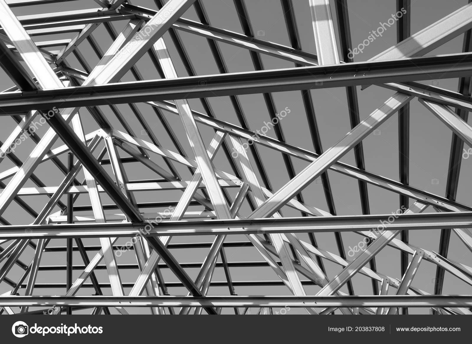 Structure Steel Roof Frame Building Construction Black White Photo U2014  Fotografia De Stock