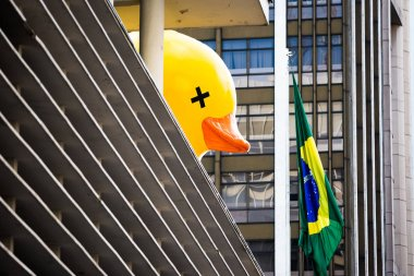 Sao Paulo, Brazil. Fruary 14, 2016. In Brazil, the duck symbolizes the people that pay the account of the corruptions of the politicians. The people deceived by the political class, who pays expensive taxes and has no return.