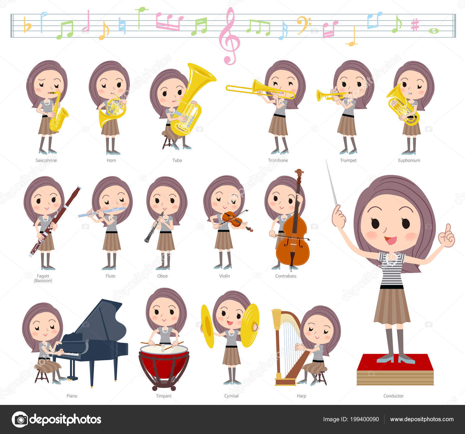 Set Women Classical Music Performances — Stock Vector