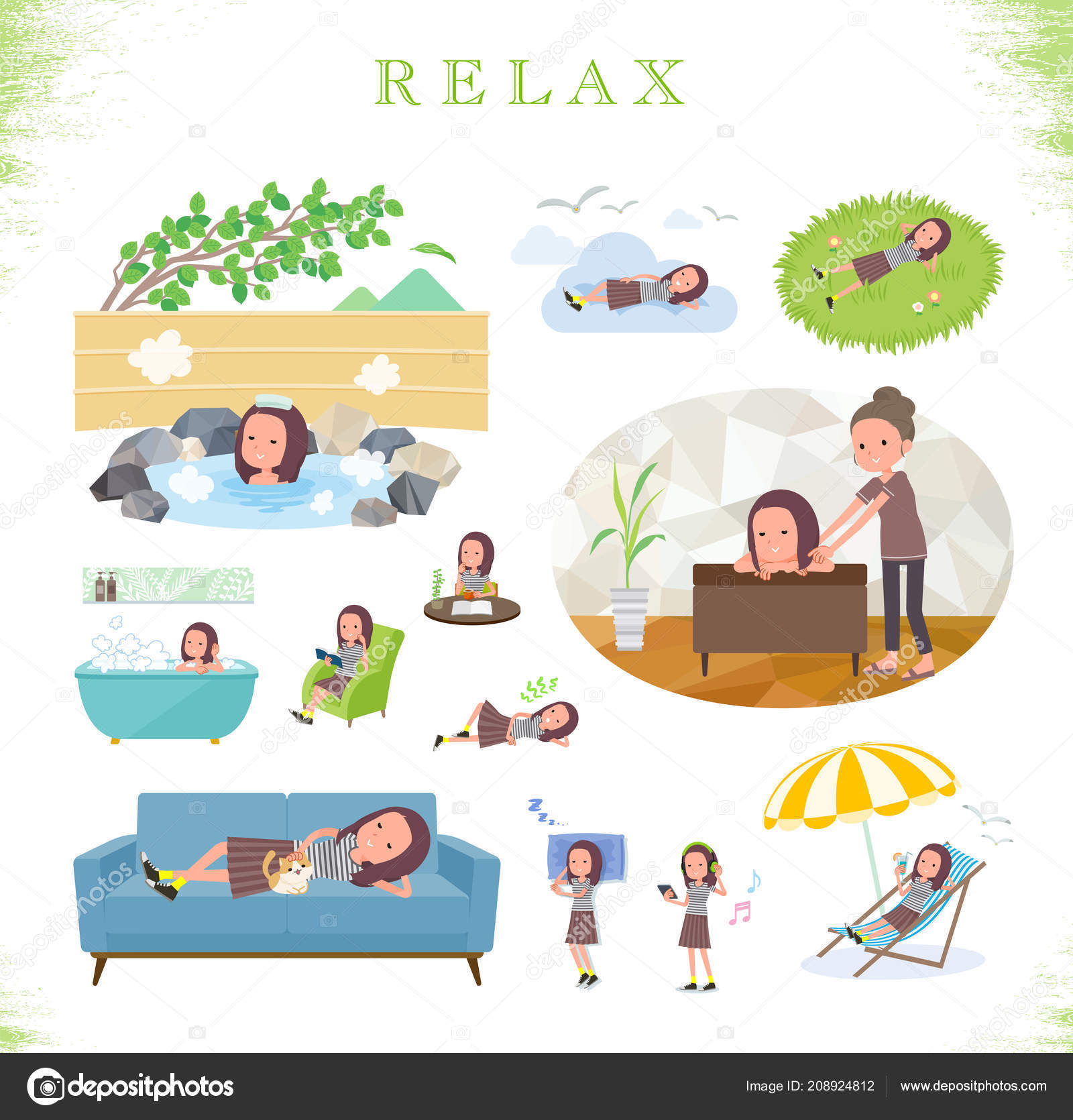 set women relaxing actions vacation stress relief vector art easy