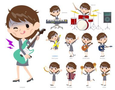 A set of bad condition women playing rock 'n' roll and pop music.There are also various instruments such as ukulele and tambourine.It's vector art so it's easy to edit.