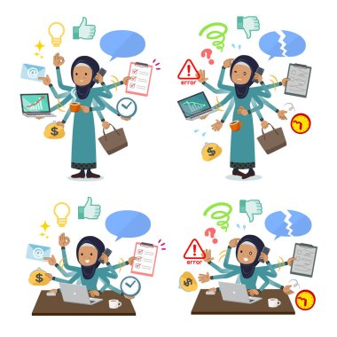 A set of old women wearing hijab who perform multitasking in the office.There are things to do smoothly and a pattern that is in a panic.It's vector art so it's easy to edit.
