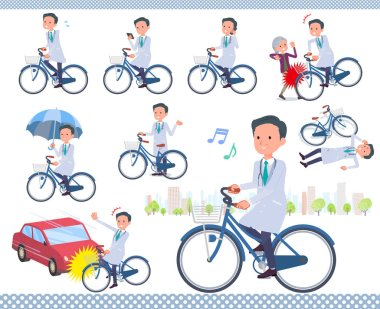 A set of doctor man riding a city cycle.There are actions on manners and troubles.It's vector art so it's easy to edit.