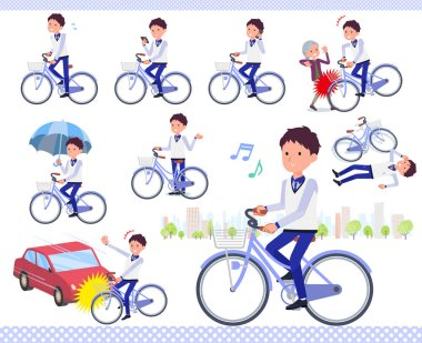 A set of Store stuff man riding a city cycle.There are actions on manners and troubles.It's vector art so it's easy to edit.
