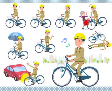 A set of working man riding a city cycle.There are actions on manners and troubles.It's vector art so it's easy to edit.