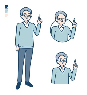 Senior Man with pointing hand sign images