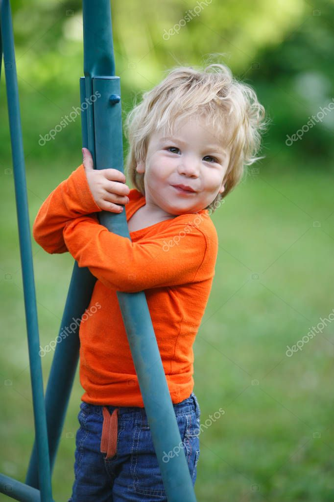 Cute kid playing outdoors