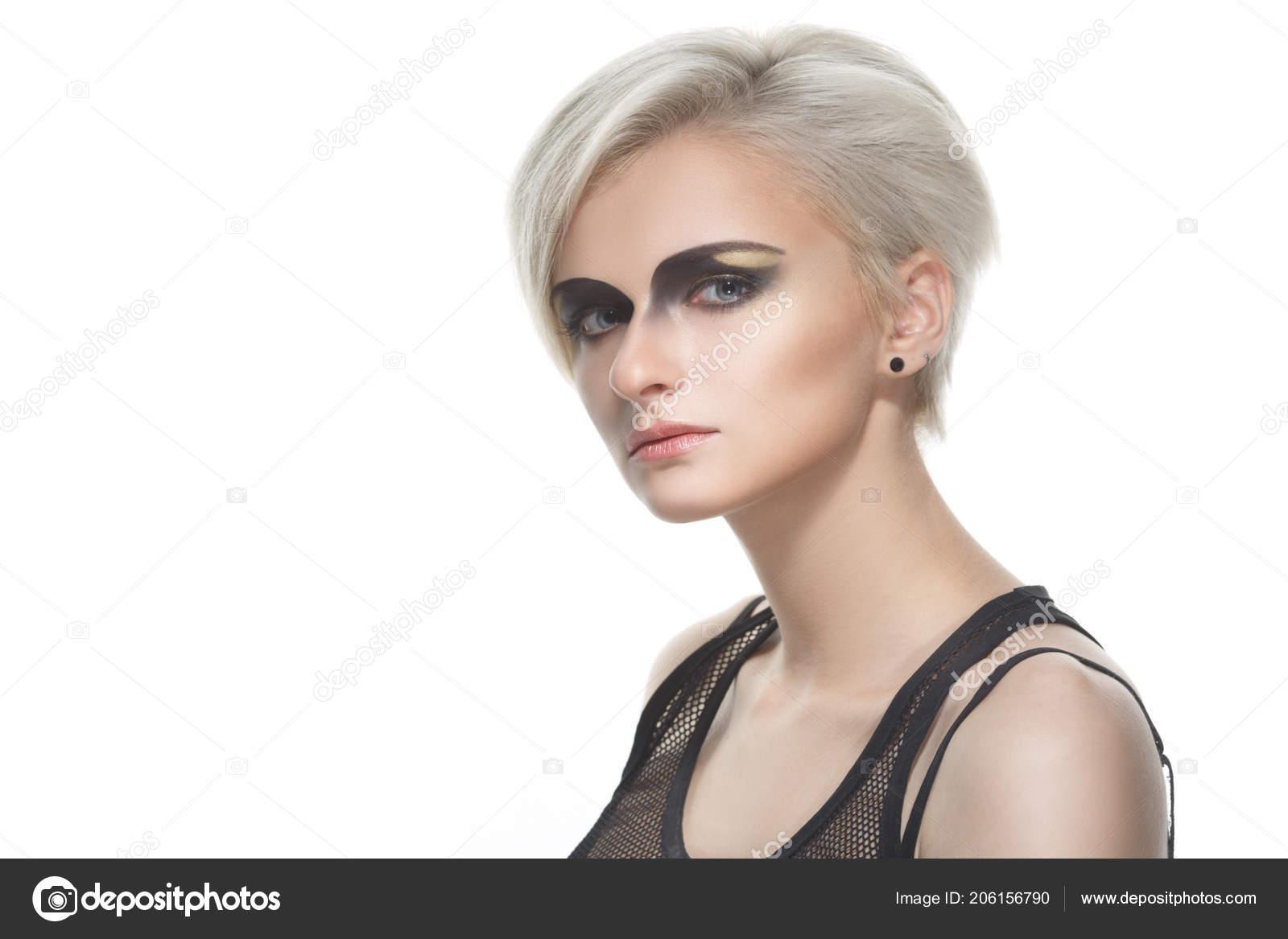 Piękno Portret Kobiety Blond Fryzury Krótkie Dramatyczne