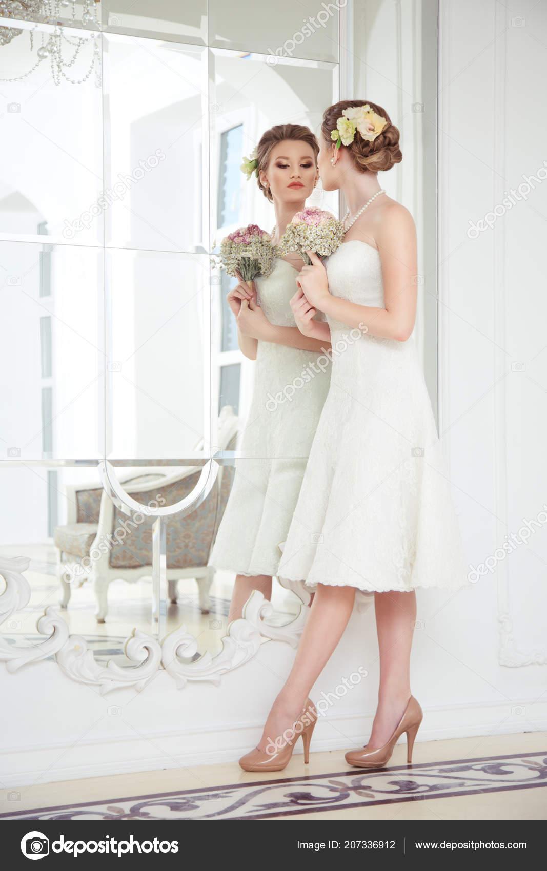 Beautiful Bride Dress Just Knee Reflection Mirror Stock Photo