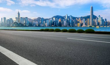 Air highway asphalt road and office building of commercial build