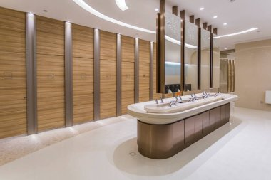 Interior view of bathroom in shopping mall hote