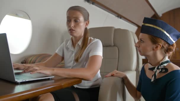 Attractive redhair stewardess asking businesswoman about service inside of private jet cabin.
