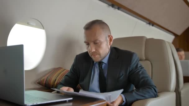 Attractive businessman working with documents and laptop in private jet